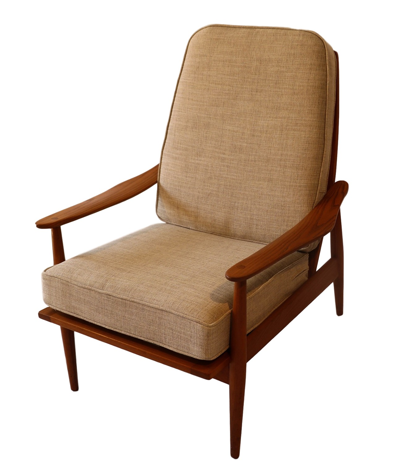 Mid century modern teak high back lounge chair for Modern lounge furniture
