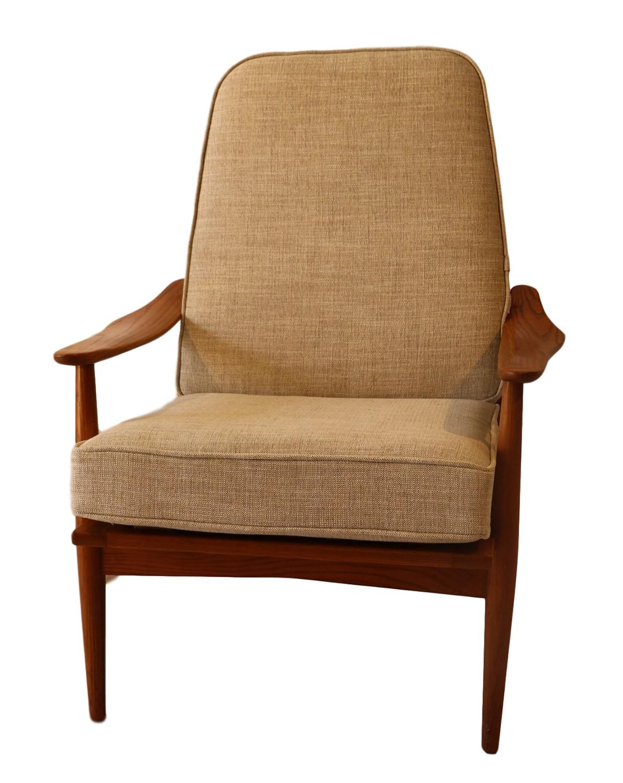 Mid Century Modern Teak High Back Lounge Chair