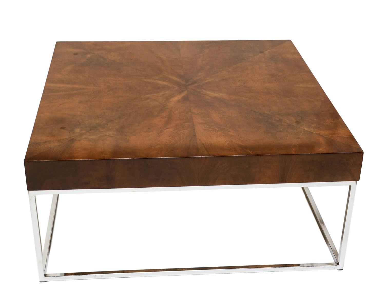 9143a7ccb55f Mid-Century Modern Walnut Chrome Square Coffee Table -