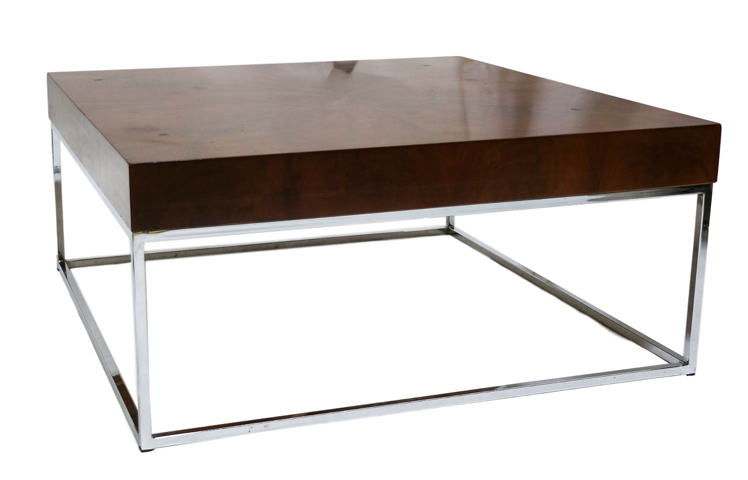 Mid Century Modern Walnut Chrome Square Coffee Table