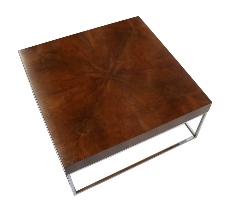 Mid Century Modern Walnut Chrome Square Coffee Table
