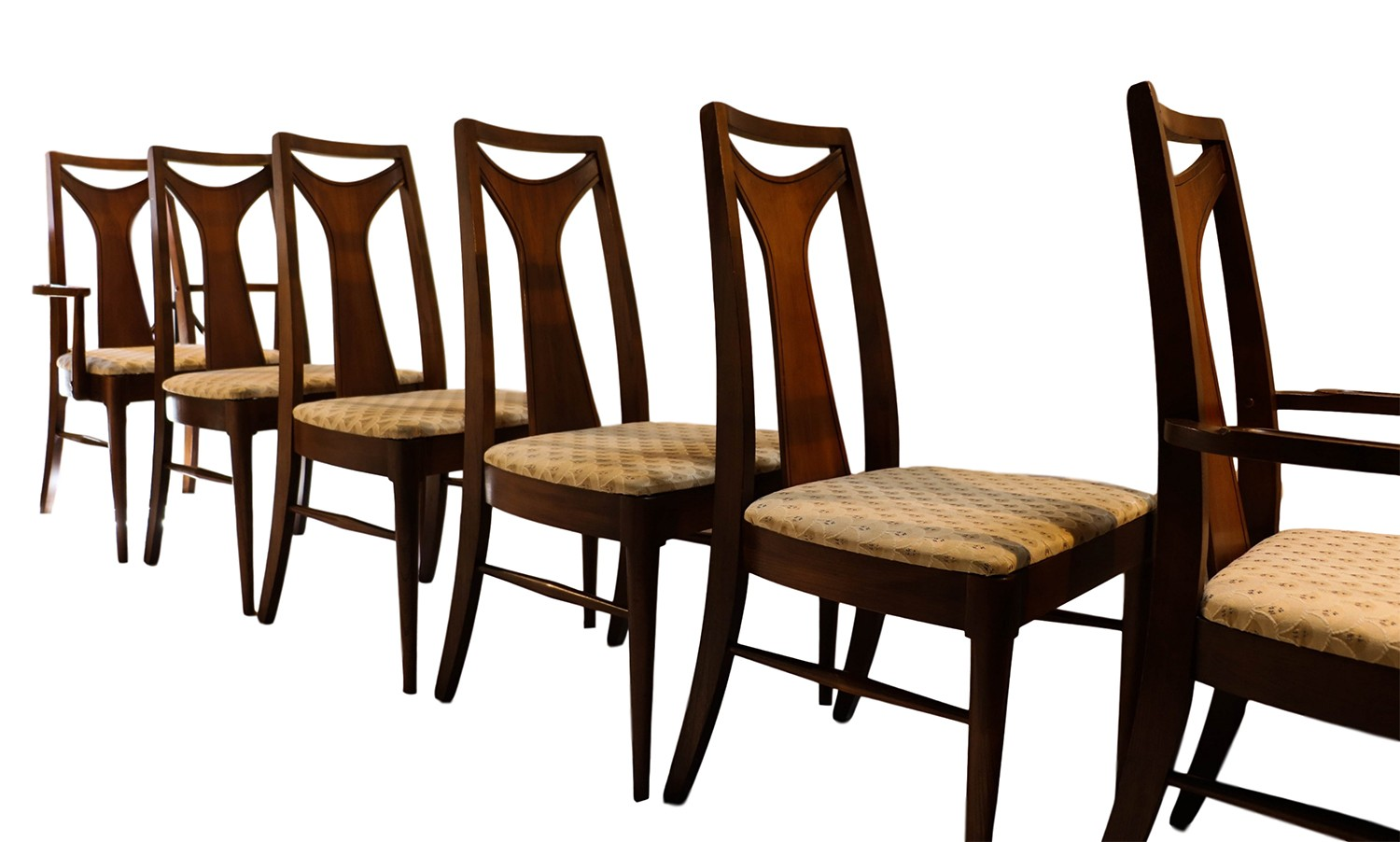 Mid century modern walnut high back dining chairs for Modern high back dining chairs