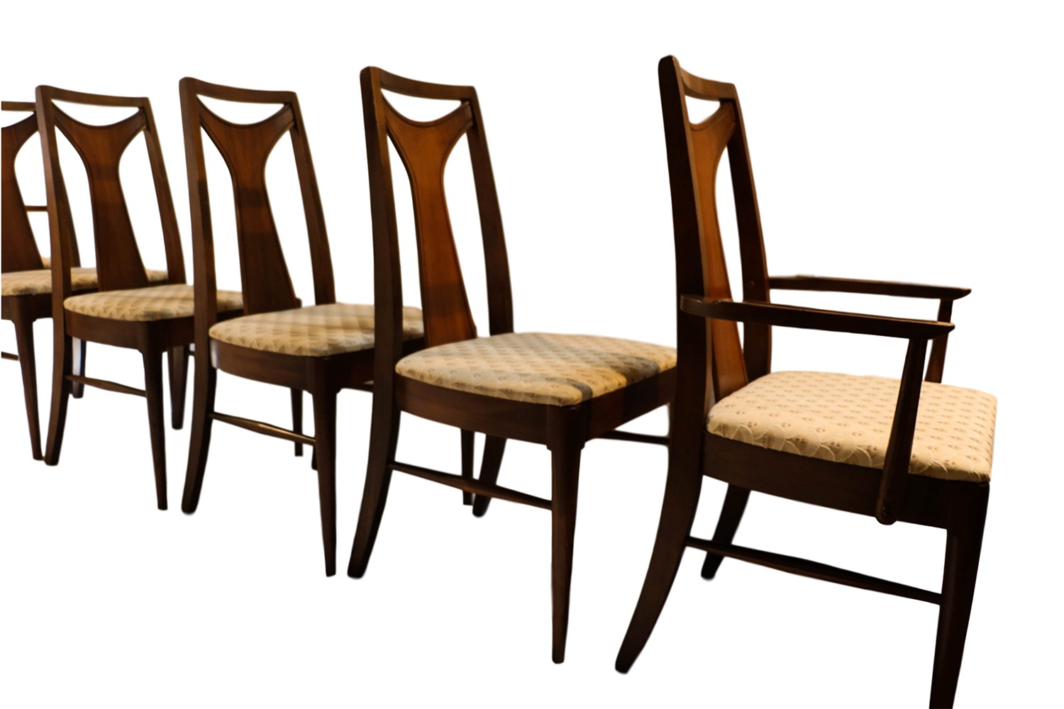 Mid Century Modern Walnut High Back Dining Chairs