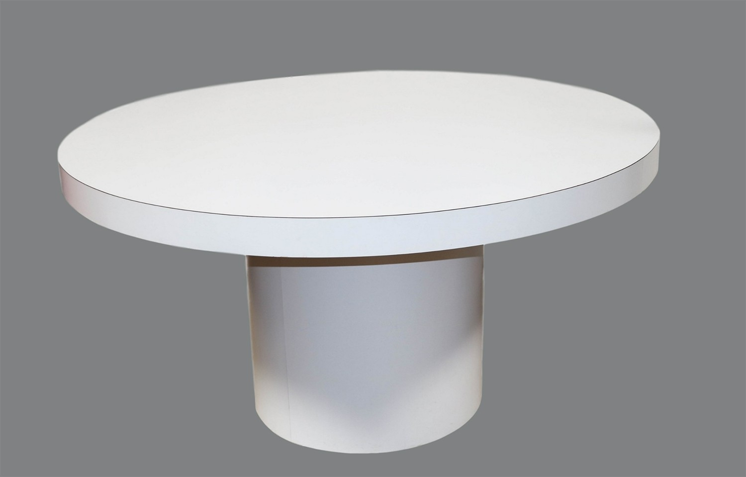 mid century modern white round dining table tube base. Black Bedroom Furniture Sets. Home Design Ideas