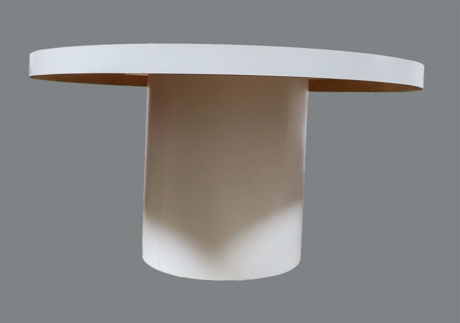 Mid Century Modern White Round Dining Table Tube Base