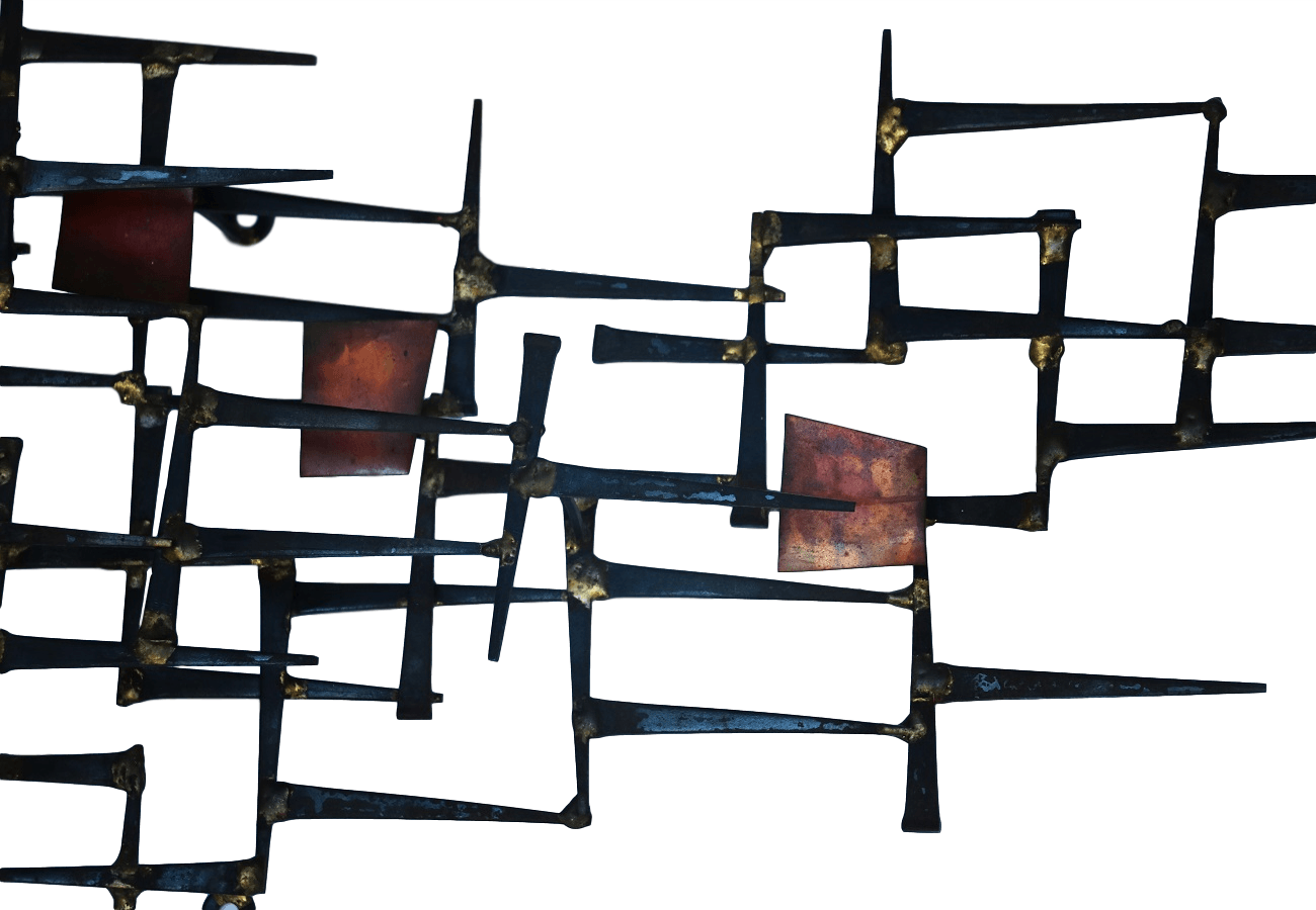 Mid Century Modern abstract Nail sculpture Wall Art