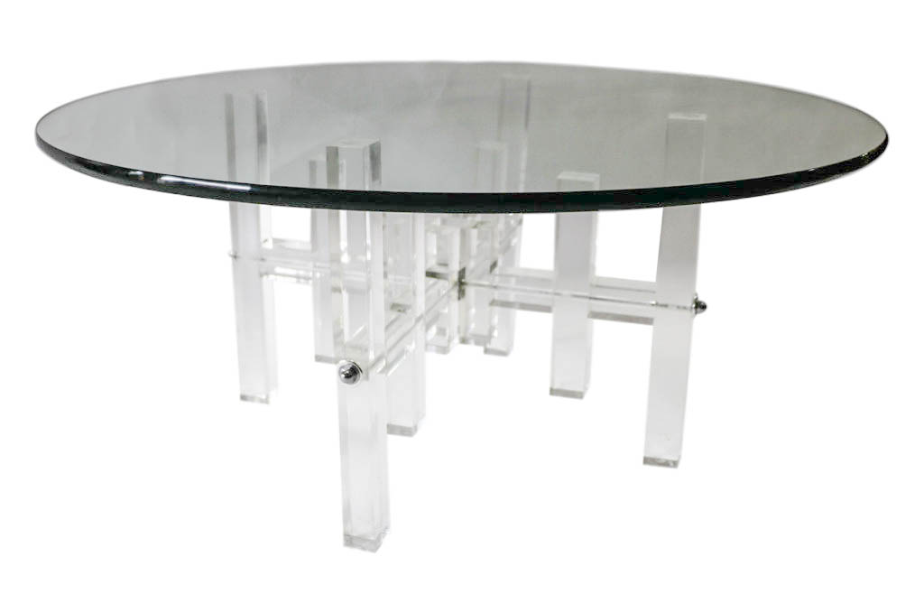 Mid Century Round Glass Top Coffee Table Lucite Bass - Bass coffee table