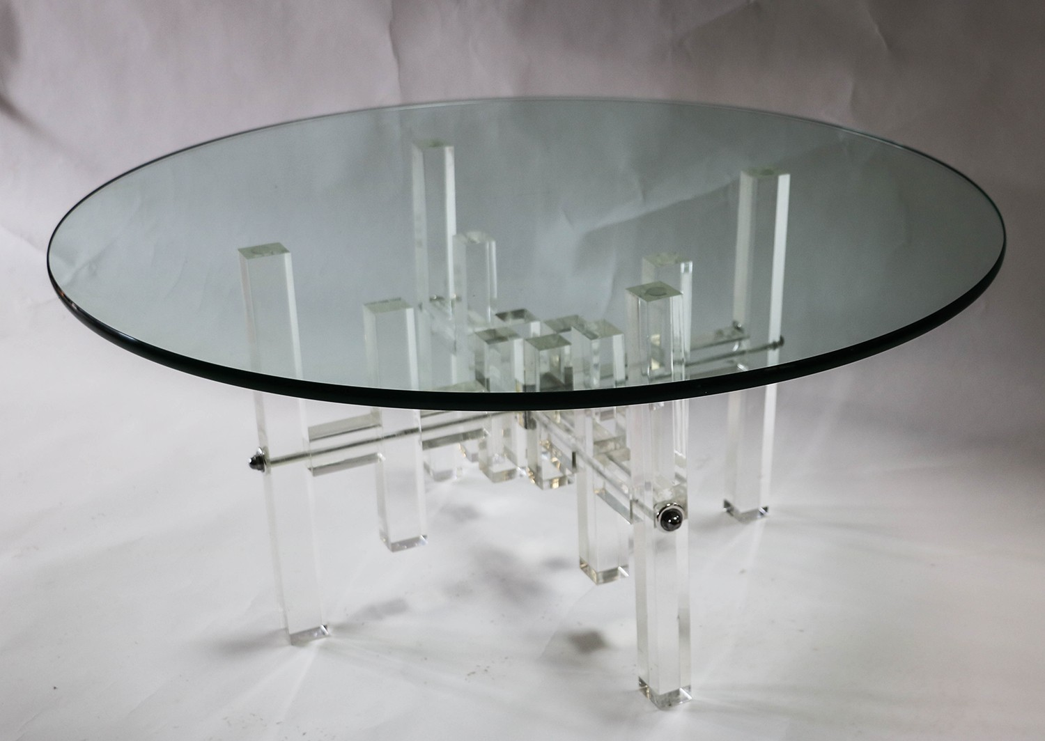 - Mid Century Round Glass Top Coffee Table Lucite Bass |