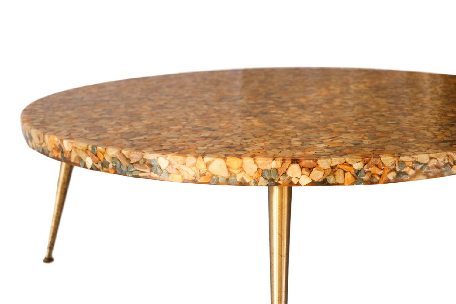 Mid Century Round River Pebbles Clear Resin Top Coffee Table