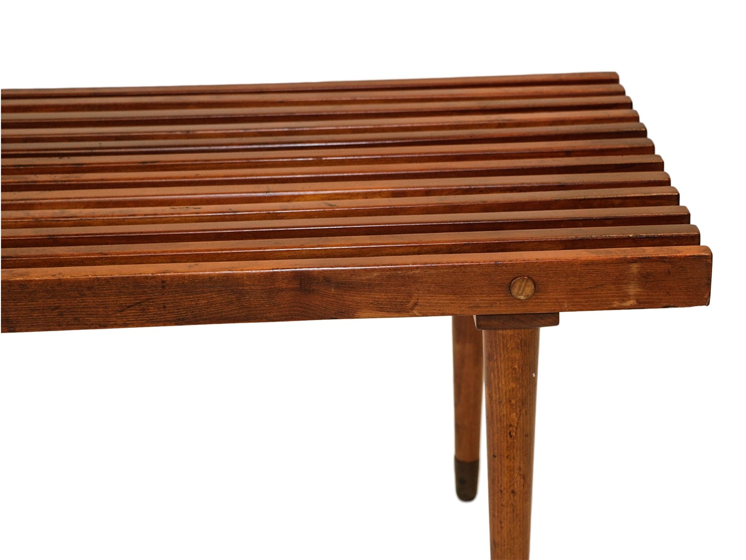 Mid Century Slatted Wood Bench Coffee Table George Nelson Style