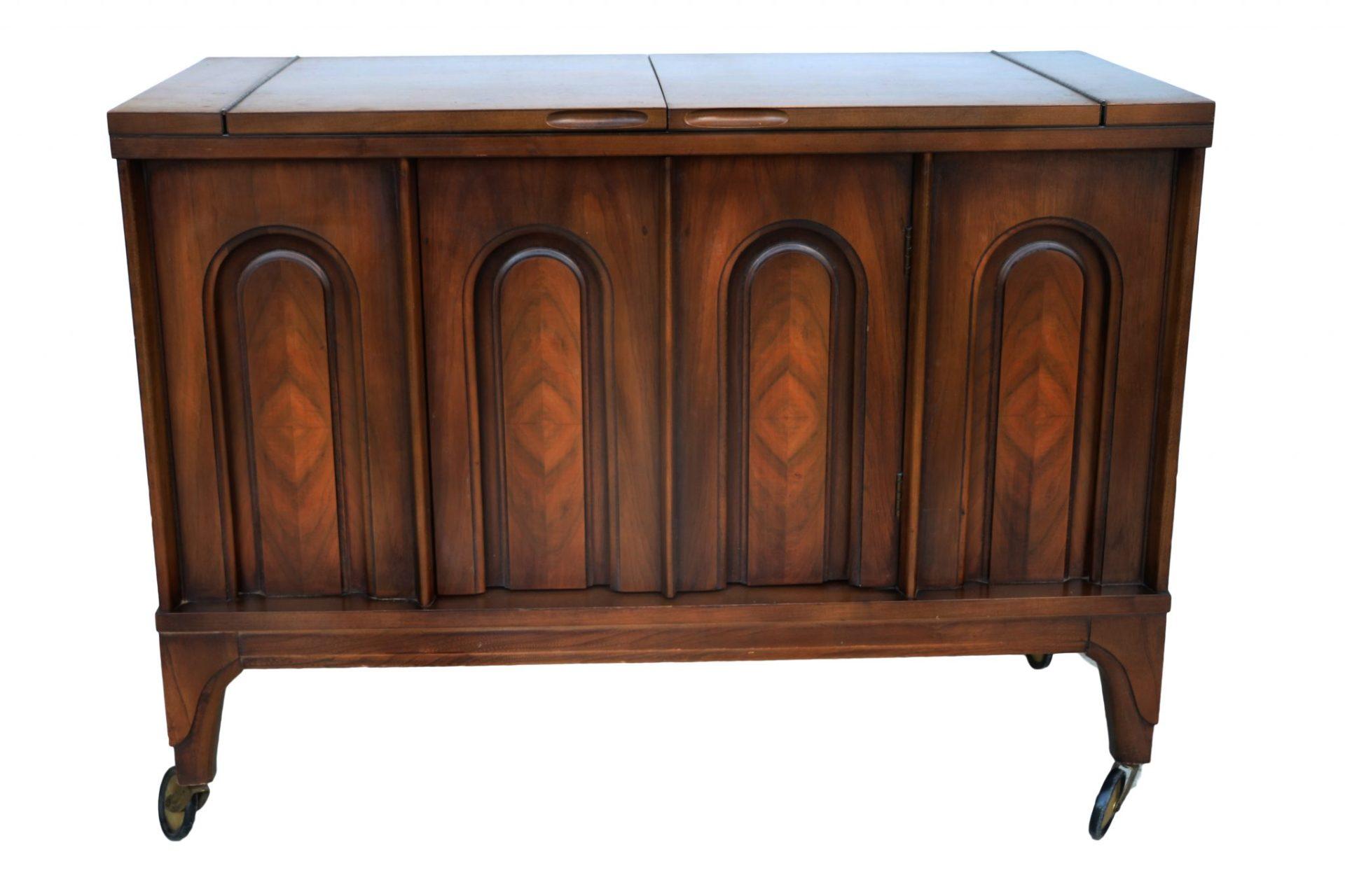 Mid Century Walnut Flip Top Bar Cabinet American