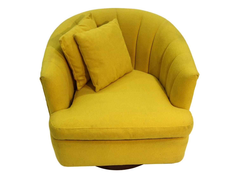 Mid Century Yellow Swivel Tub Chair Milo Baughman Style