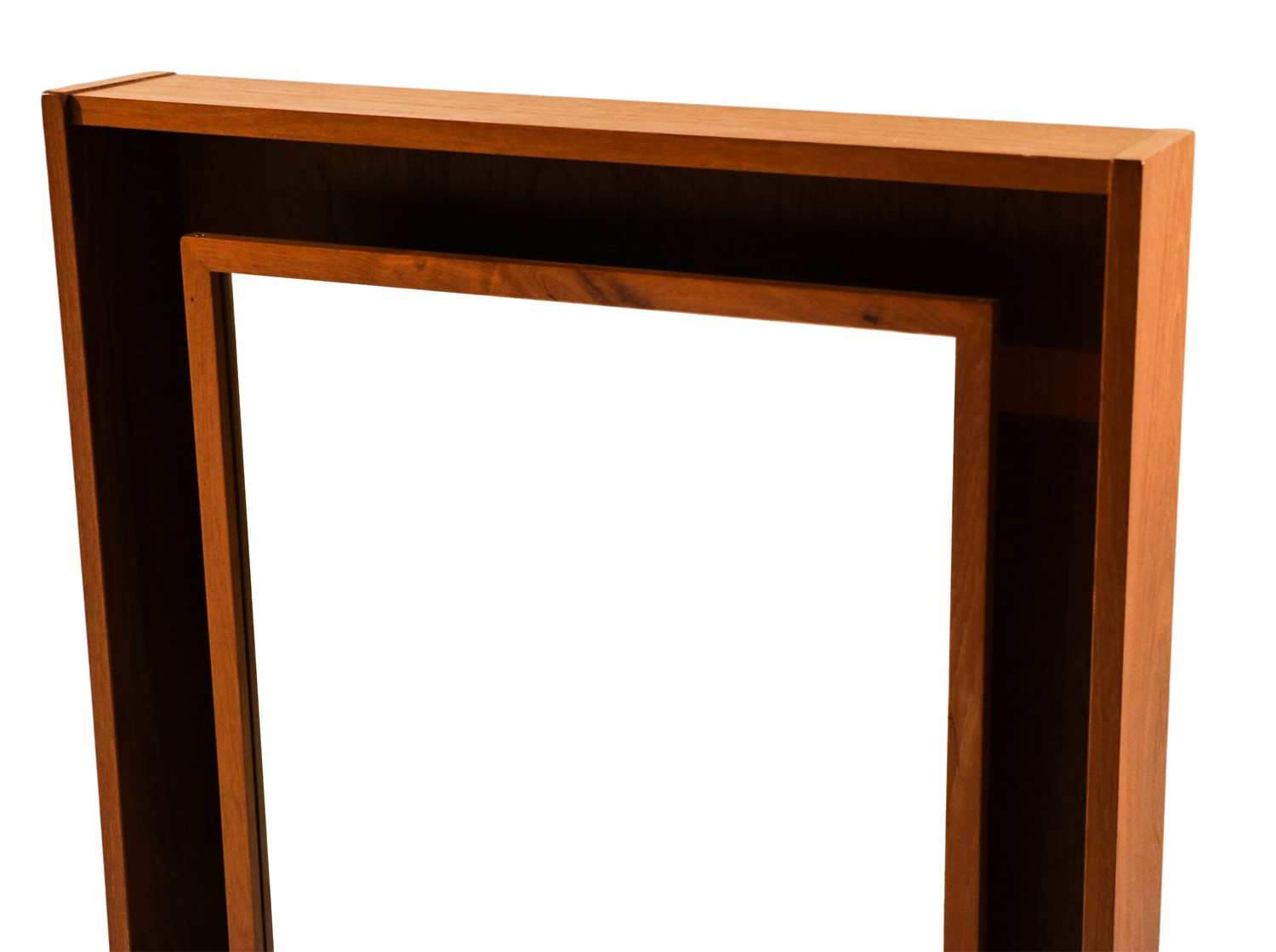 Modern Denmark Danish Teak Lighted Mirror By Pedersen