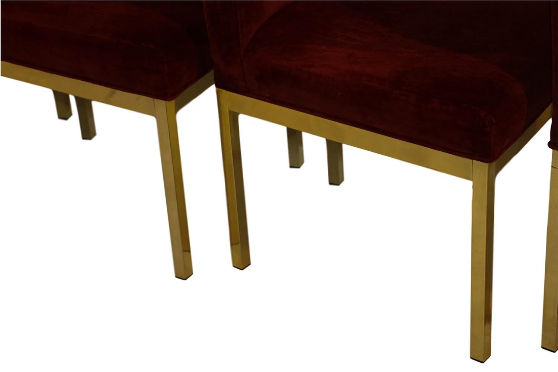 Modern Milo Baughman Style Parson Brass Dining Chairs