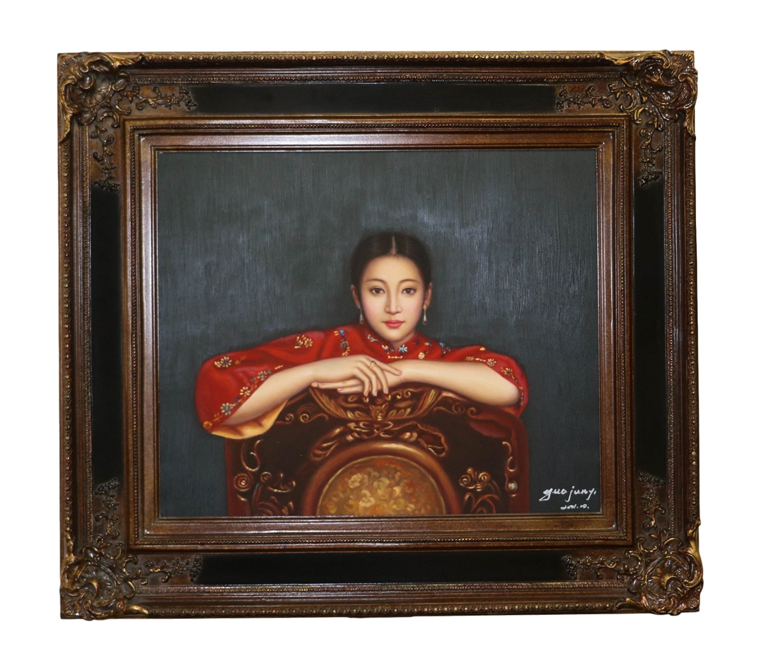 Original Oil Painting Chinese Woman