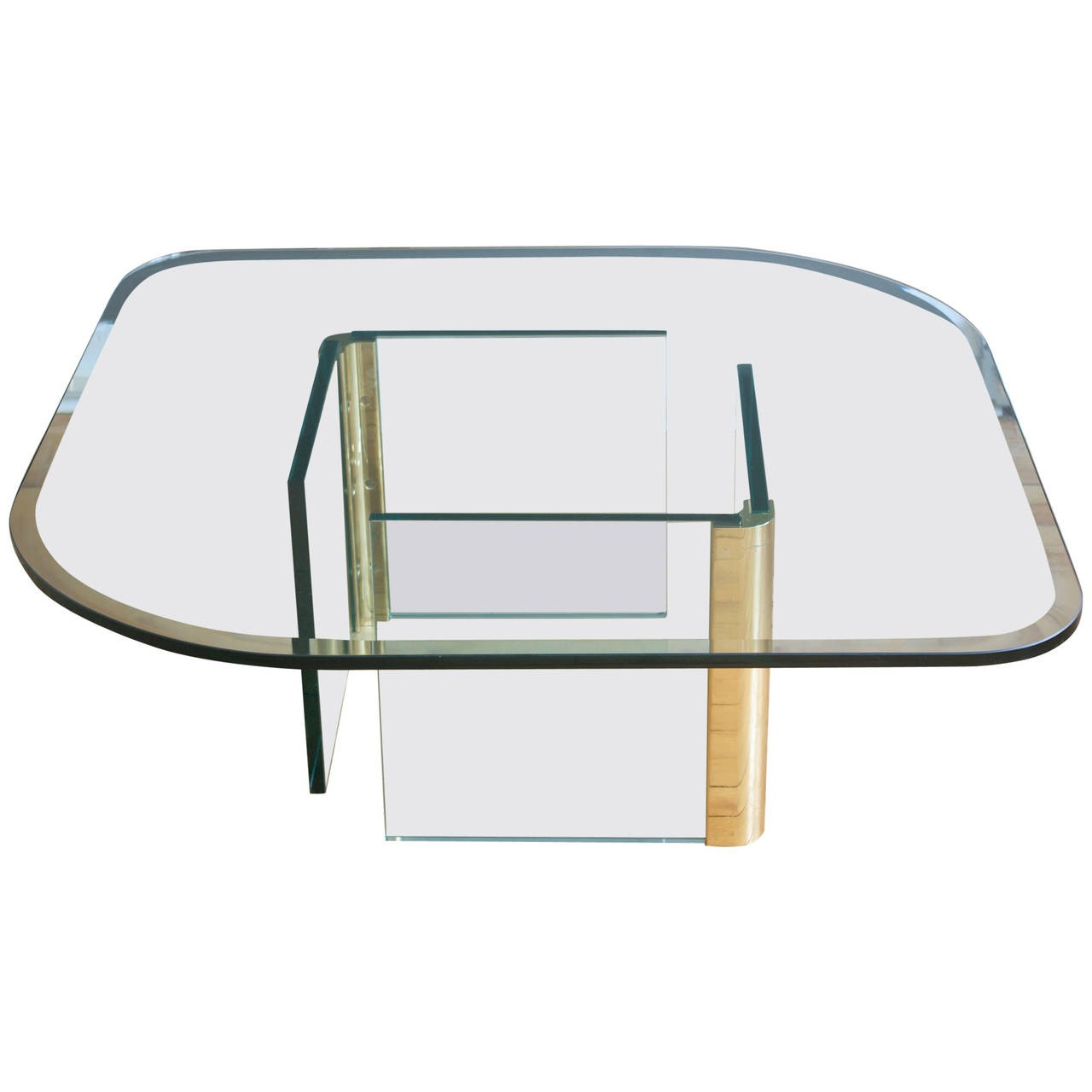 Pace collection vintage rounded glass brass coffee table geotapseo Choice Image