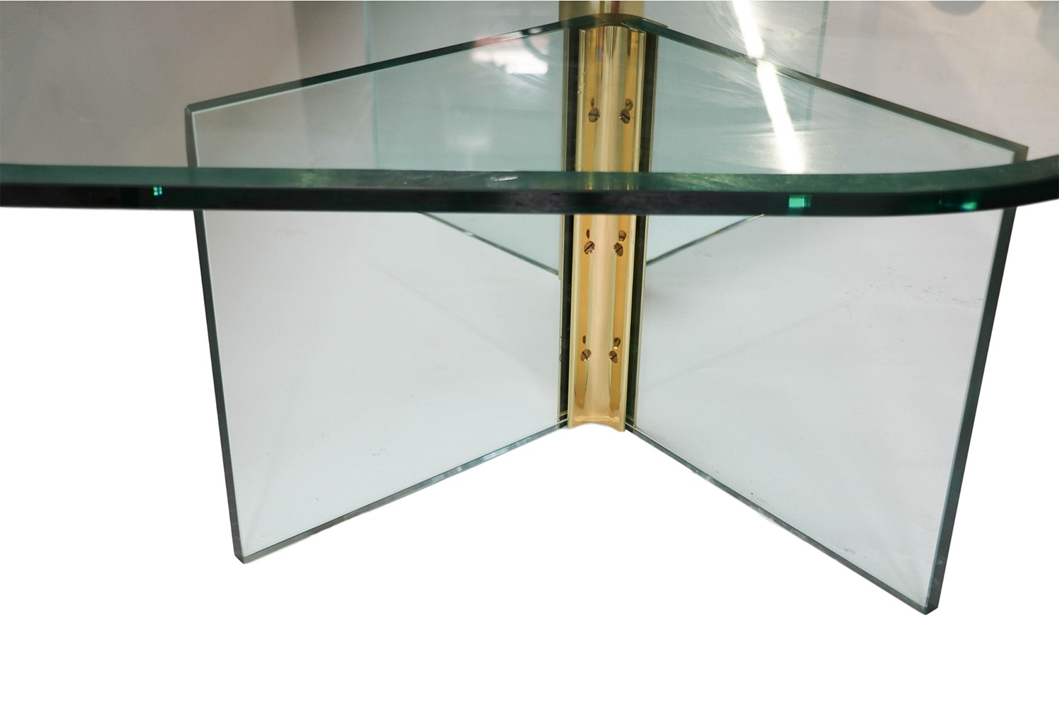 Pace Collection Vintage Rounded Glass Brass Coffee Table