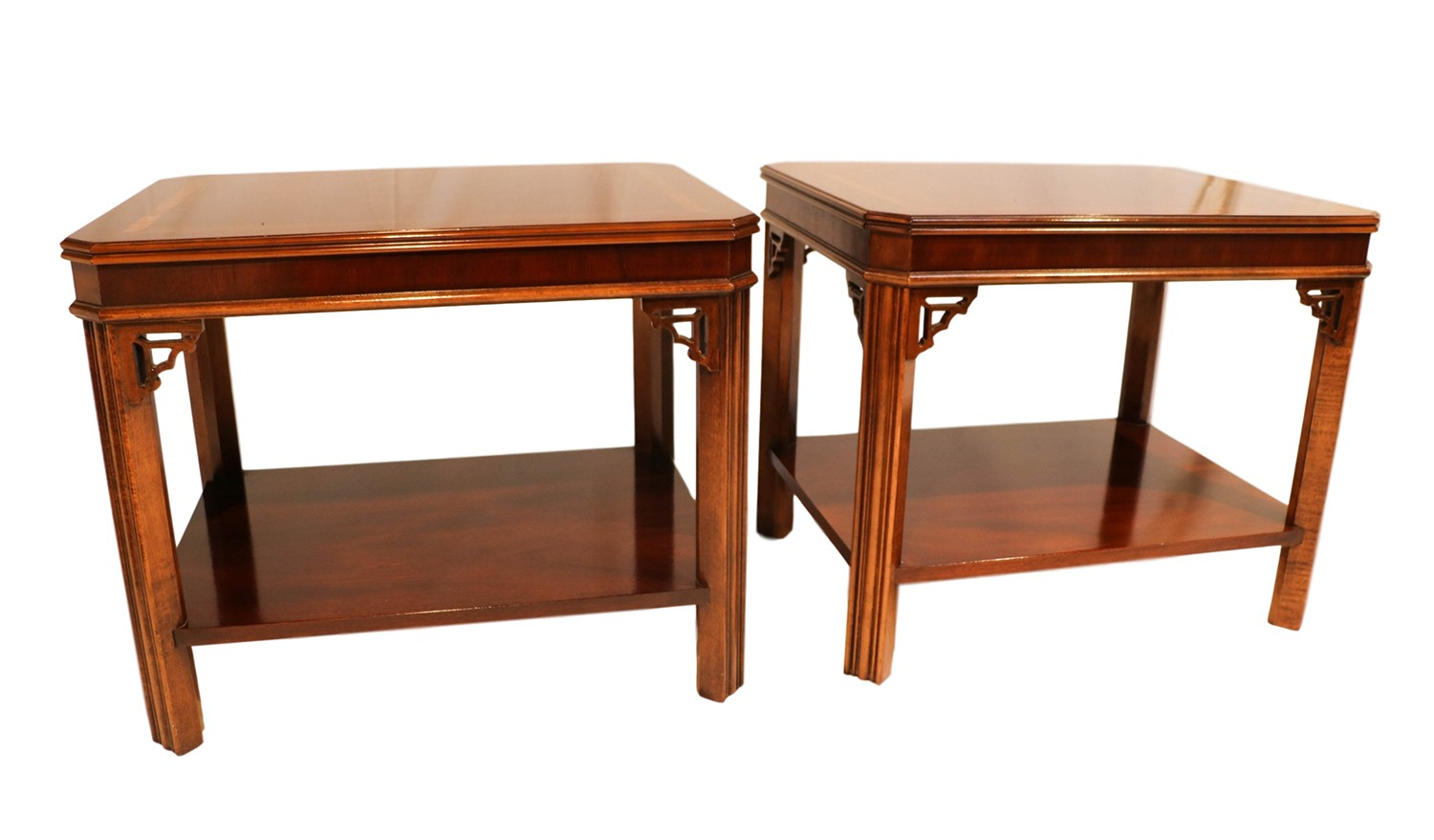 Tall Coffee Table Pair Lane Mahogany Chippendale Style Side End Tables