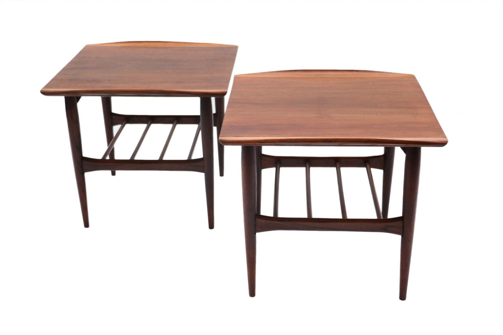 Beautiful pair mid century modern walnut bassett two tier Beautiful end tables