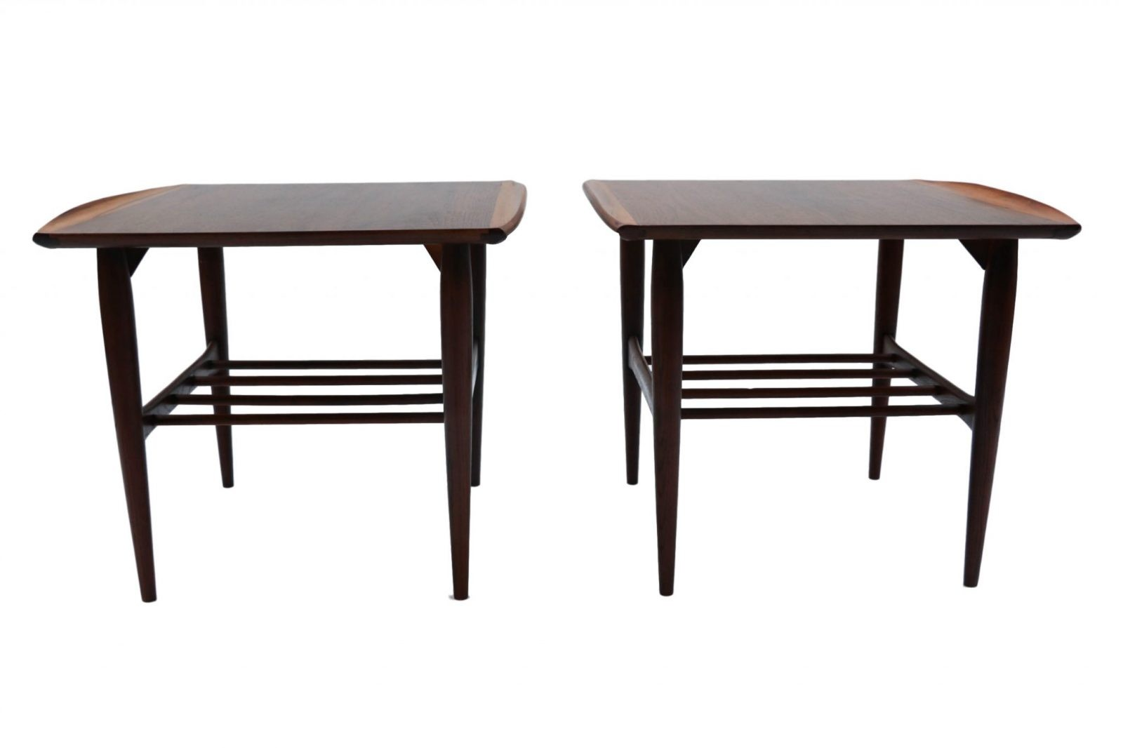 beautiful pair mid century modern walnut bassett two tier end side tables. Black Bedroom Furniture Sets. Home Design Ideas