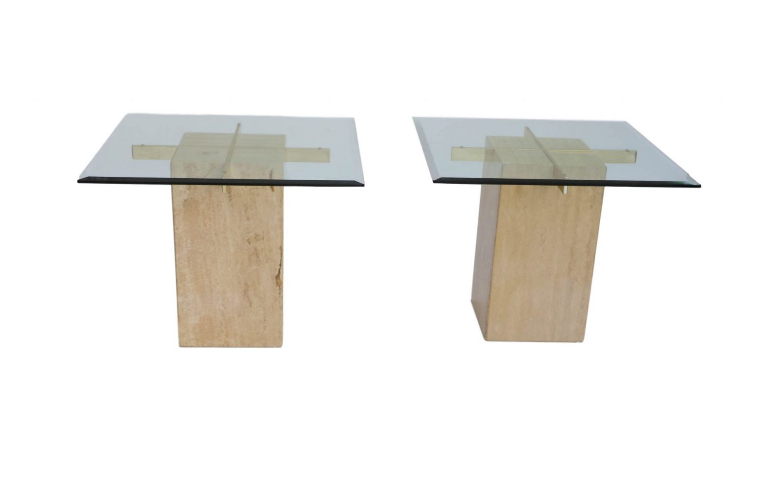 Marvelous Pair Travertine Base Glass Top Mid Century End Tables