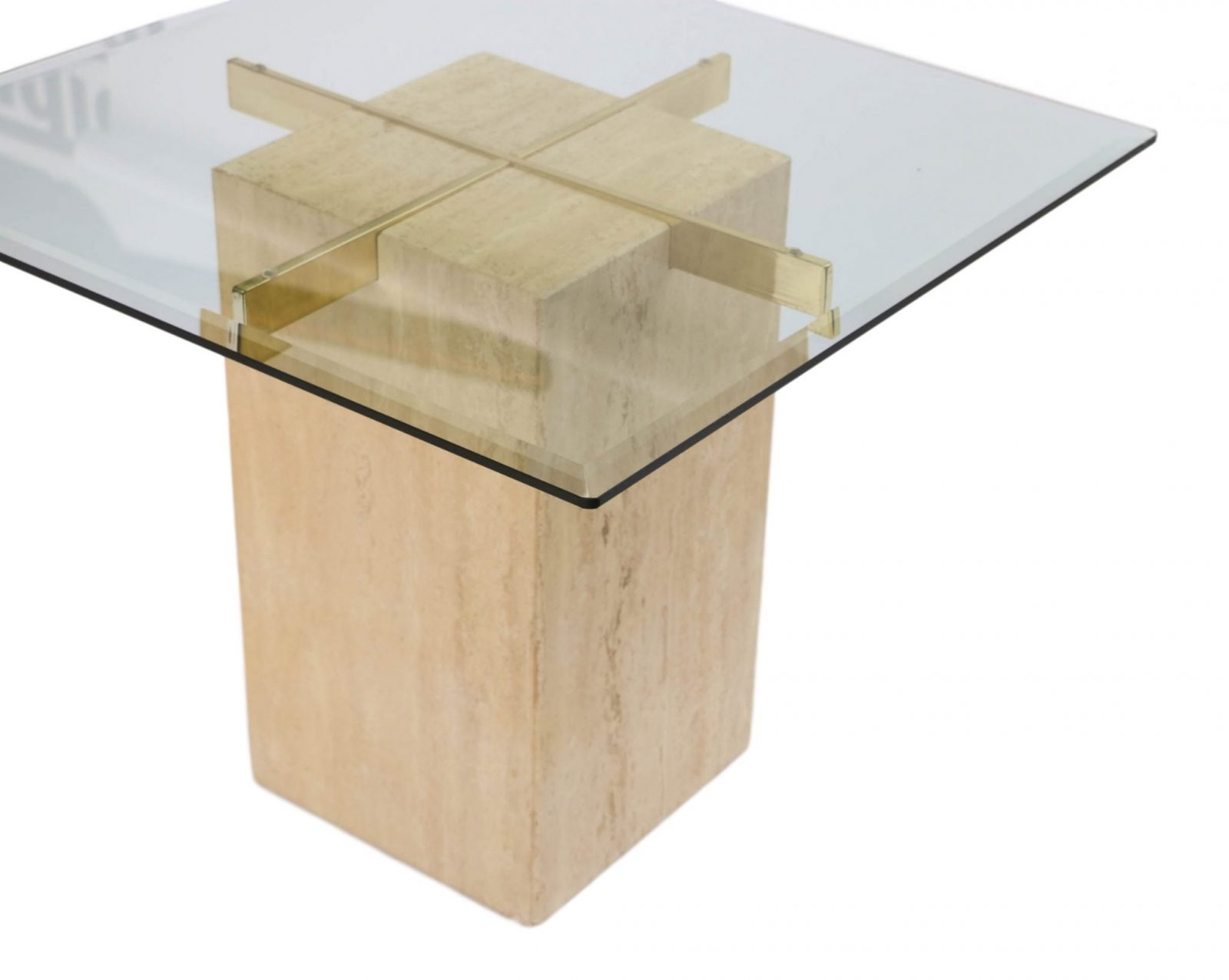 Pair Travertine Base Glass Top Mid Century end Tables