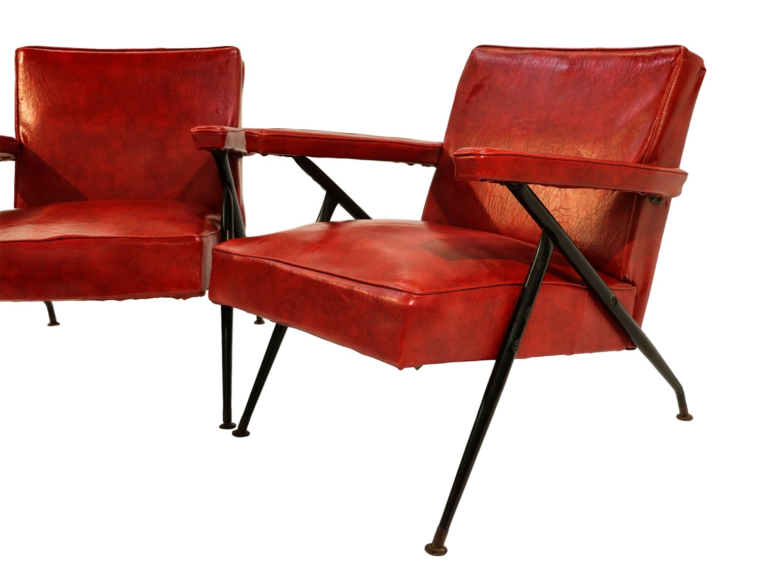 Pair Viko Baumritter Red Lounge Chairs