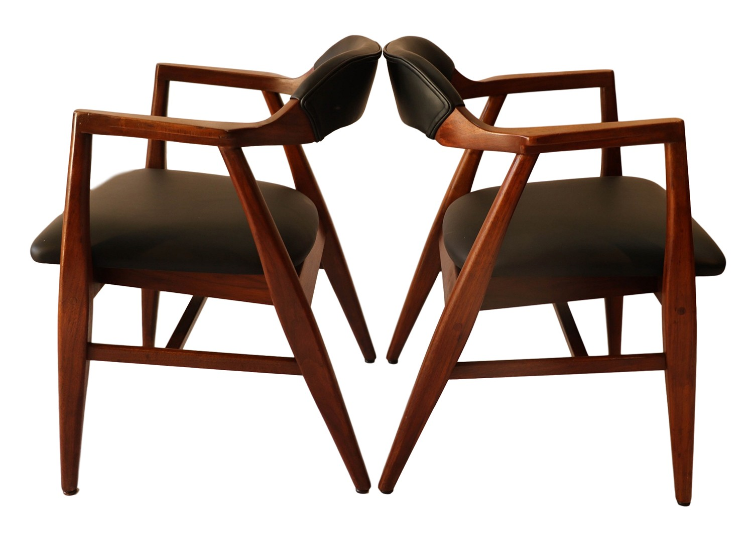 Pair mid century modern leather side chairs for Mid century modern leather chairs