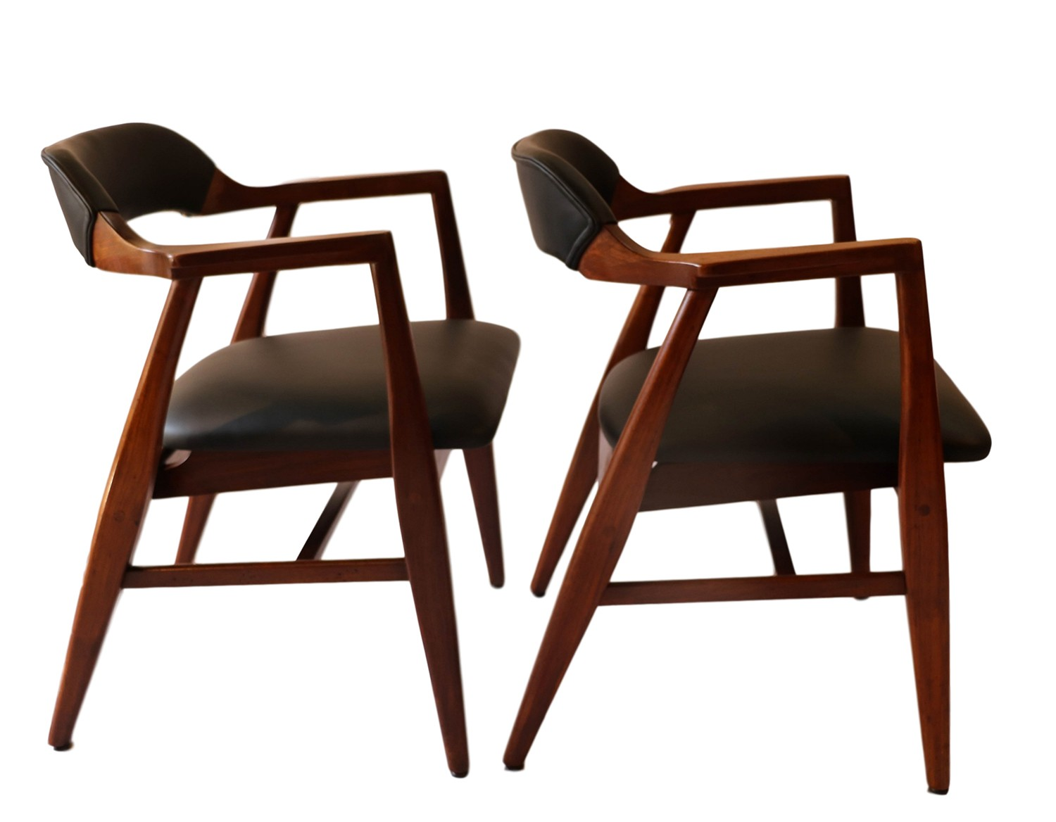 pair mid century modern leather side chairs. Black Bedroom Furniture Sets. Home Design Ideas