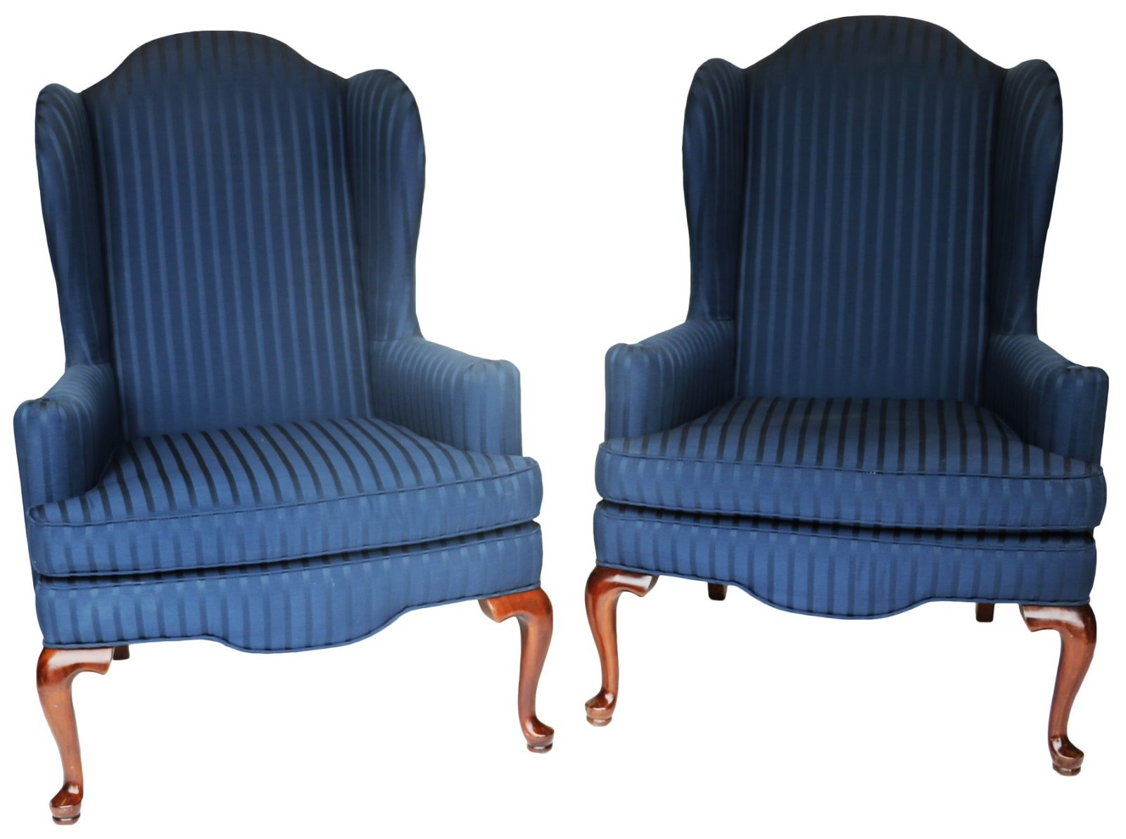 Pair Of Mahogany And Upholstered Wing Back Armchairs
