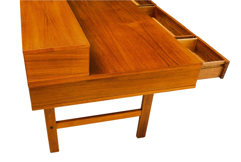 Peter L Vig Nielsen Danish Modern Teak Flip Top Desk
