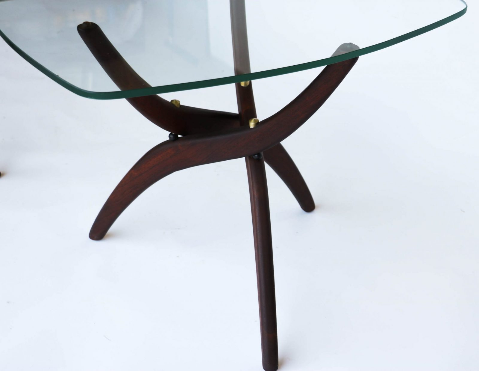 Sculptural Mid Century Modern Tables pair Vladimir Kagan Style