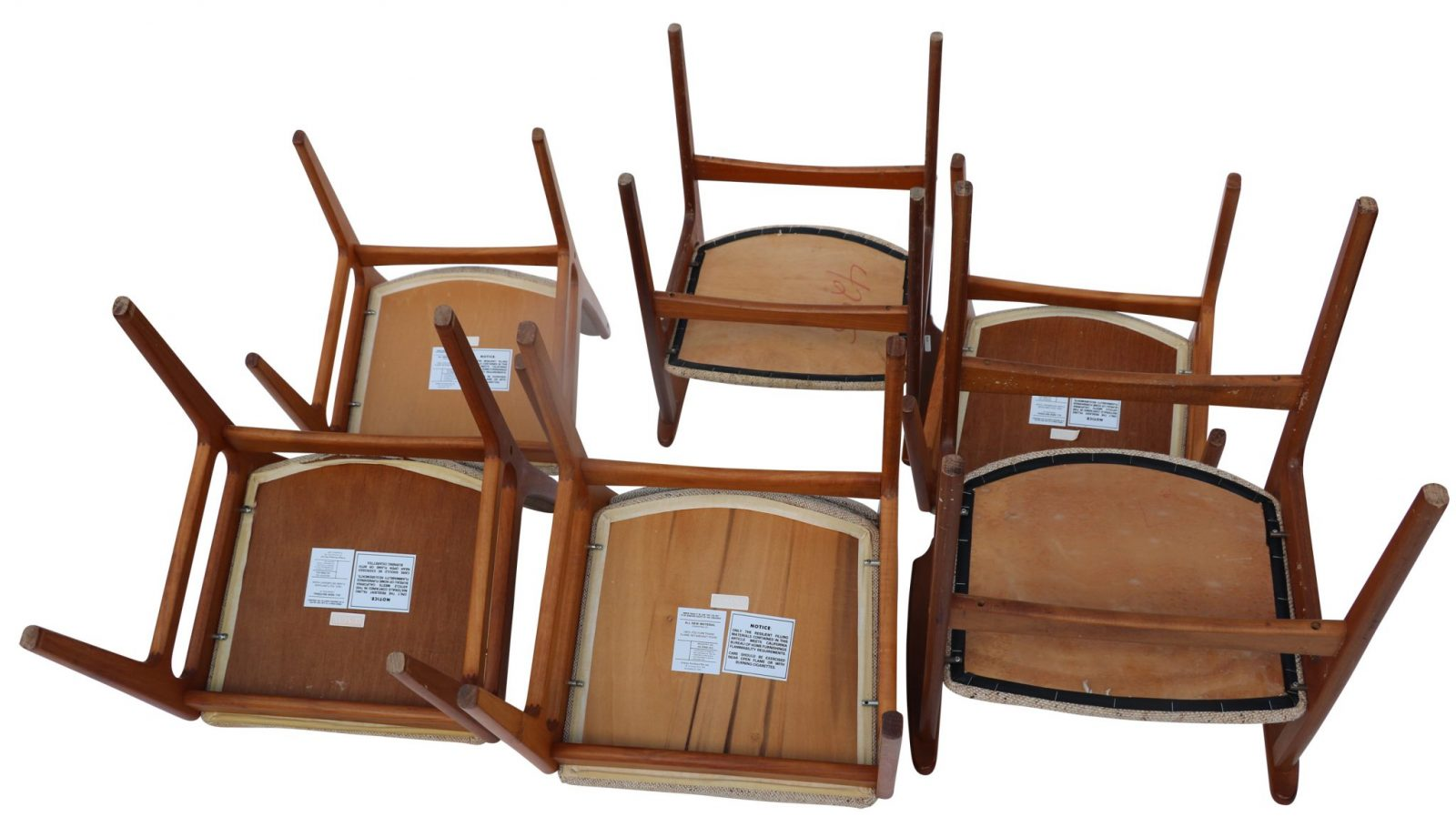 Set Of Six Original Vintage D Scan Teak Dining Chairs