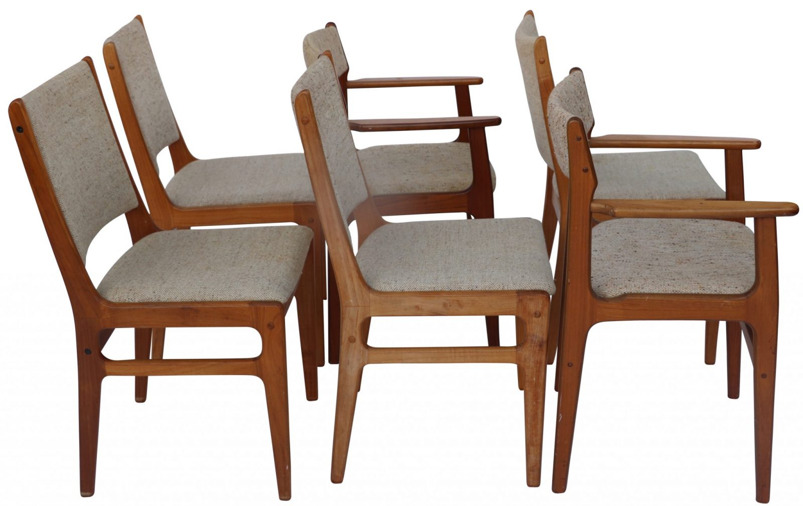 Elegant Set Of Six Original Vintage D Scan Teak Dining Chairs
