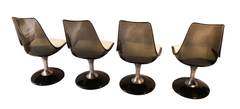 Vintage Acrylic Glass Tulip Dining Table Four Chromcraft