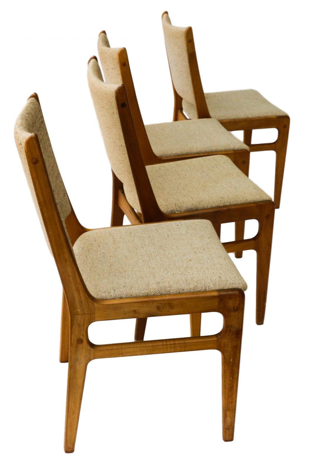 Vintage D Scan Danish Teak Dining Chairs Four