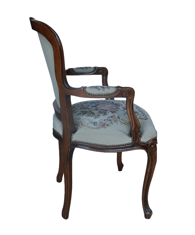 French Chateau Small Dining Set 4 Yale Chairs: Vintage Chateau D'Ax French Provincial Tapestry Ornate