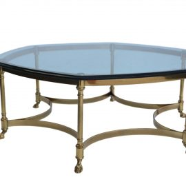 Vintage Labarge Brass Hoof Foot Hollywood Regency Hexagonal Glass Top Coffee Table 4 270x270 c Labarge Brass And Glass Coffee Table