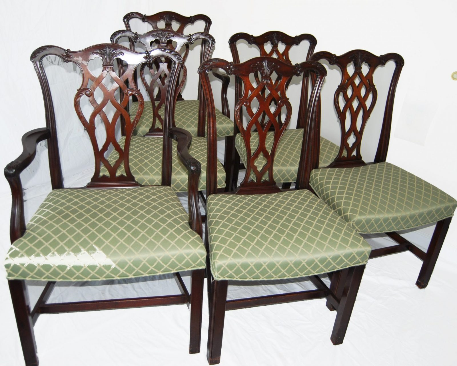 Set Of Six English Chippendale Style Mahogany Antique