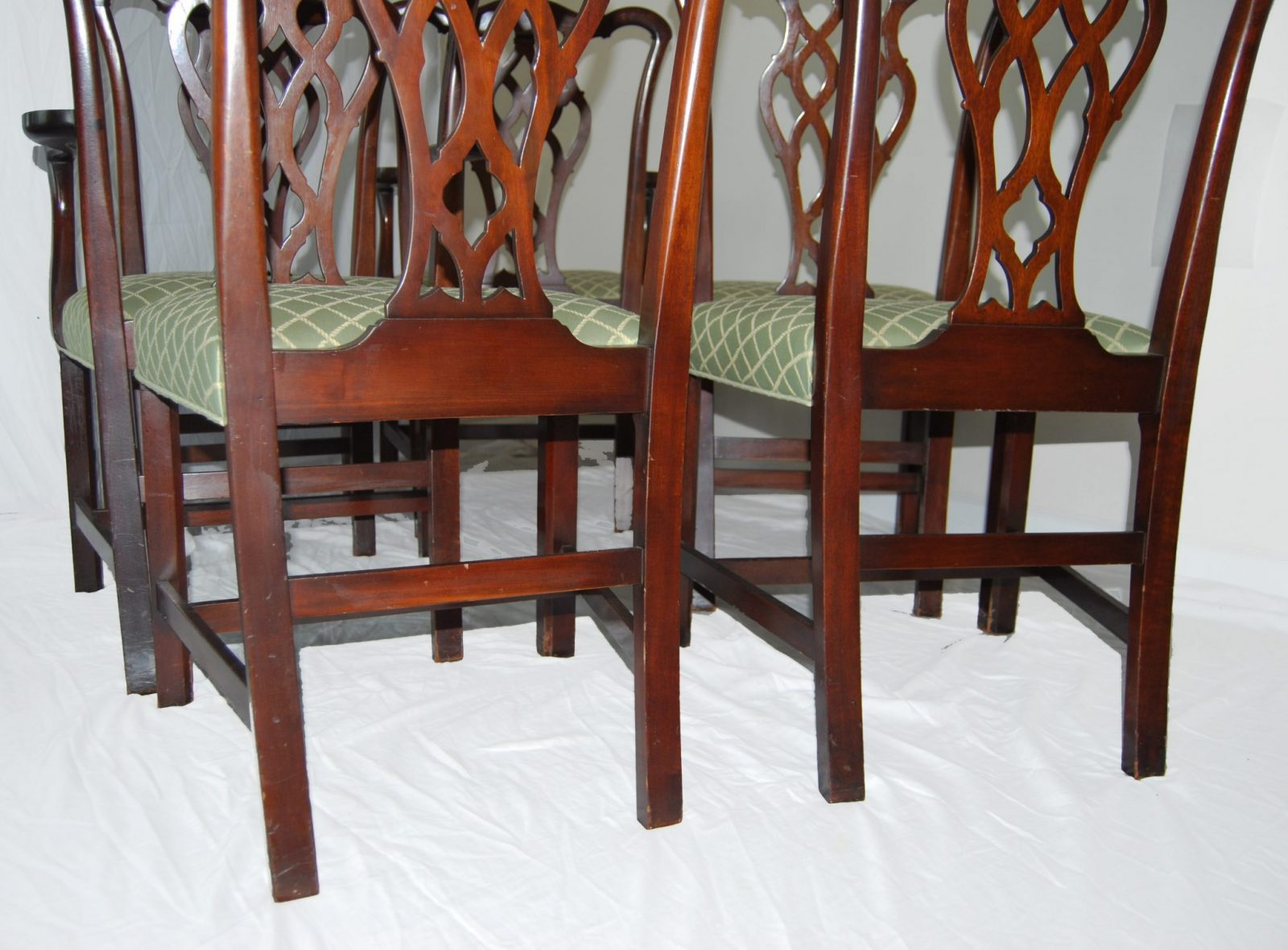 Set Of Six English Chippendale Style Mahogany Antique Dining Chairs C. 1900