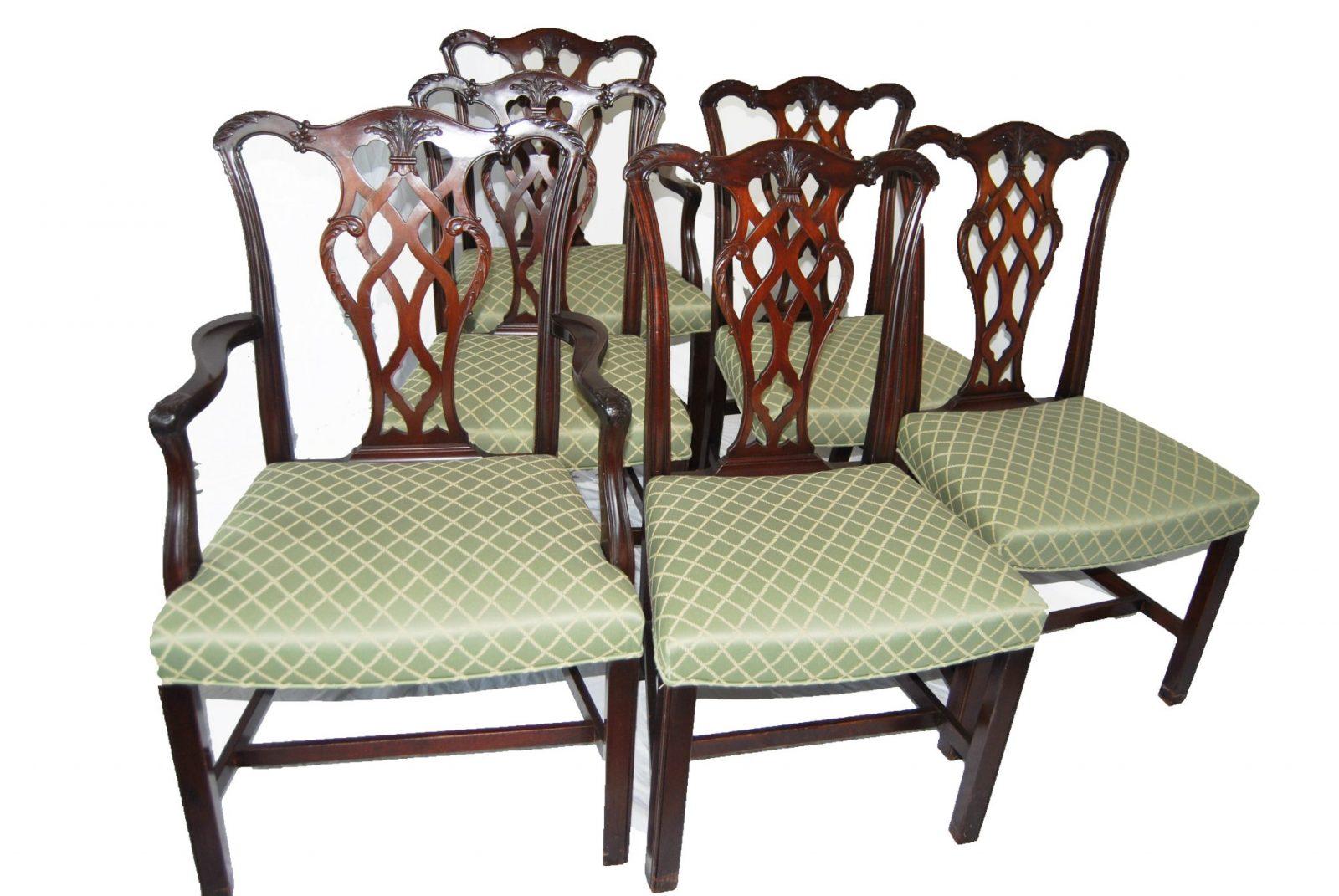 Set Of Six English Chippendale Style Mahogany Antique