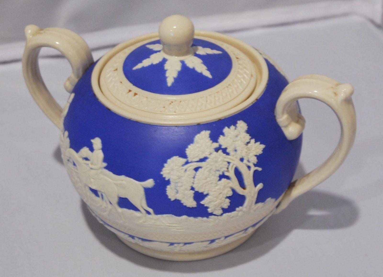 Antique Spode Copeland Blue Jasperware Sugar Container