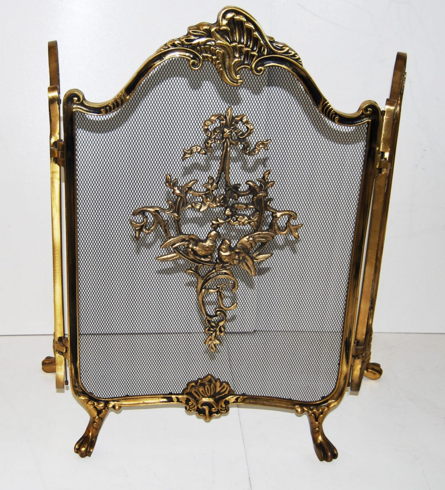 hollywood regency french style brass folding fire screen
