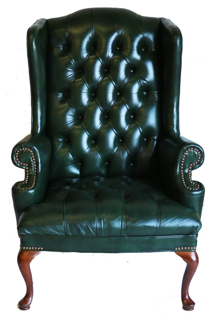 Green Leather Tufted Wing Back Chair
