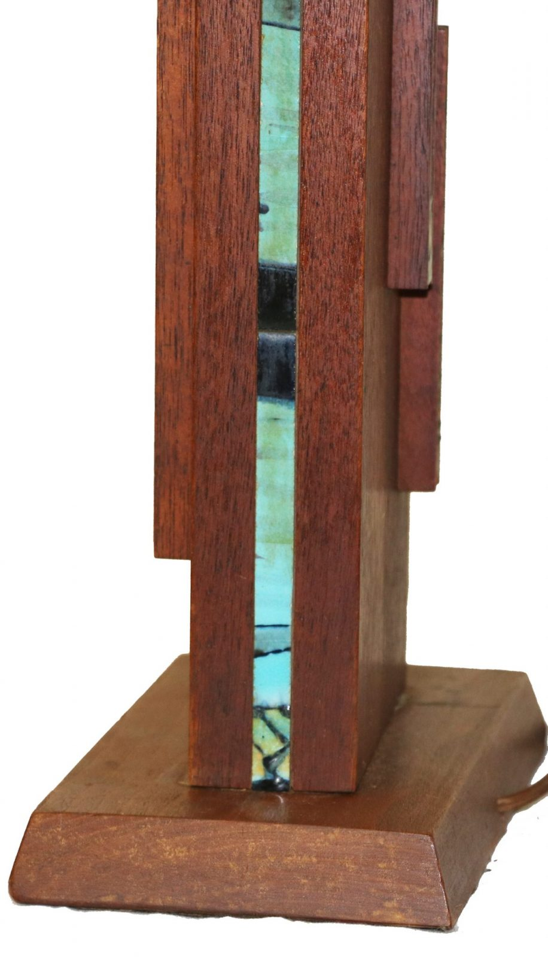 mid century wooden rectangular table lamp. Black Bedroom Furniture Sets. Home Design Ideas