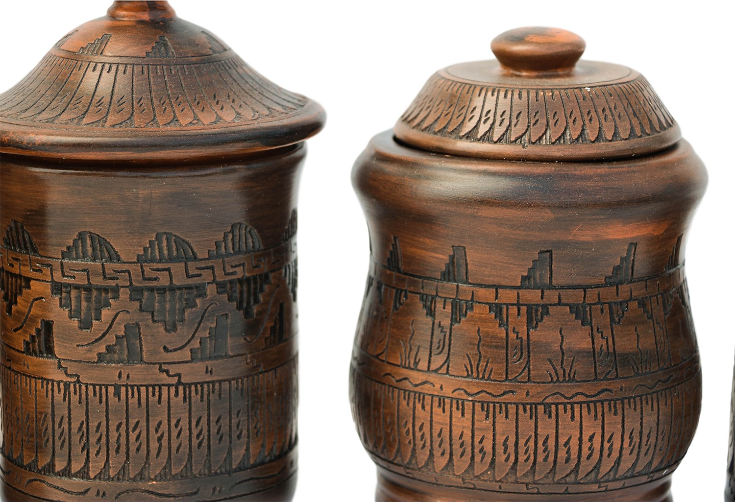 Bronze Kitchen Canisters >> Native American Navajo Style Pottery Canister Set