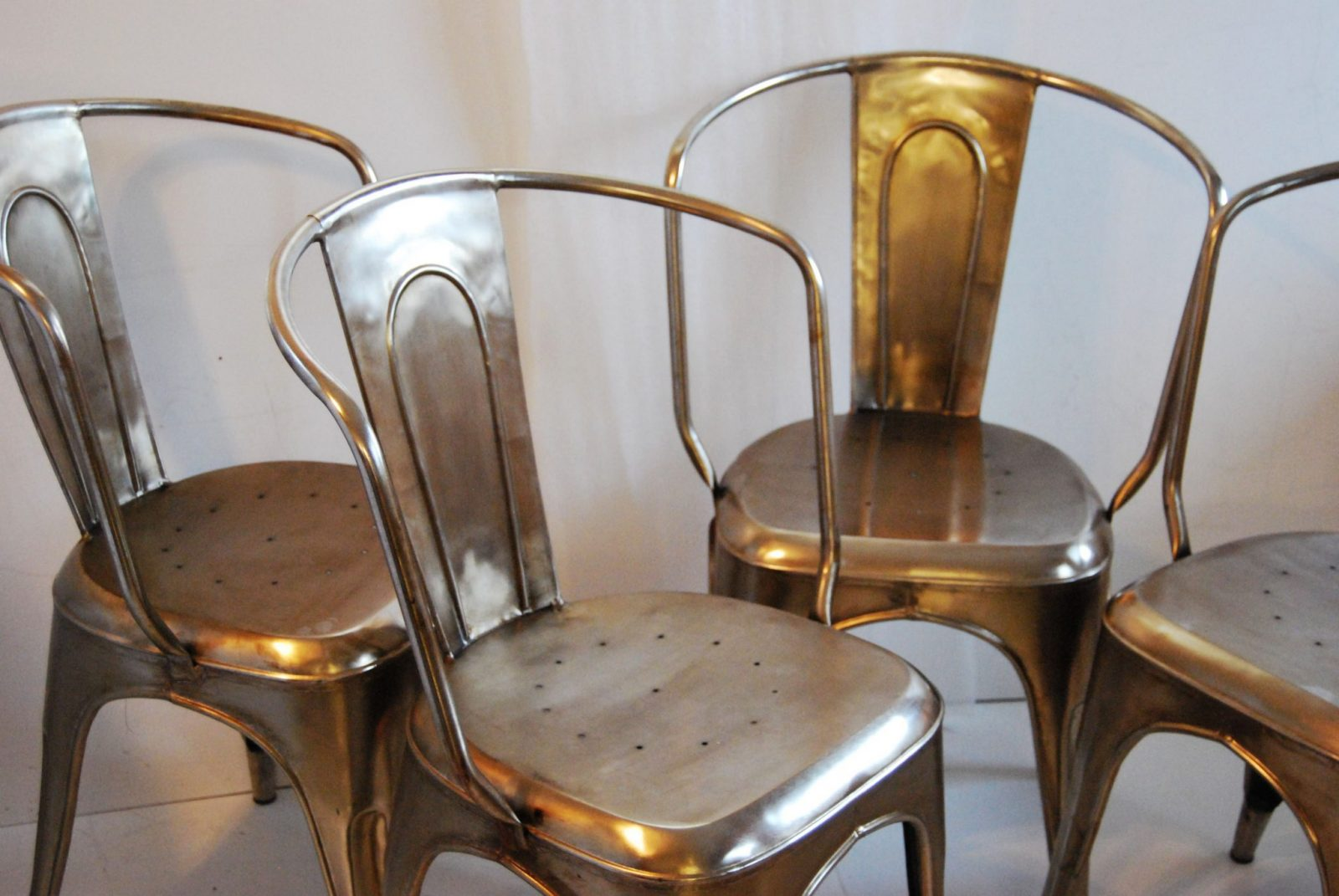 Bouchon French Industrial Steel Cafe Side Chair Set Of 4