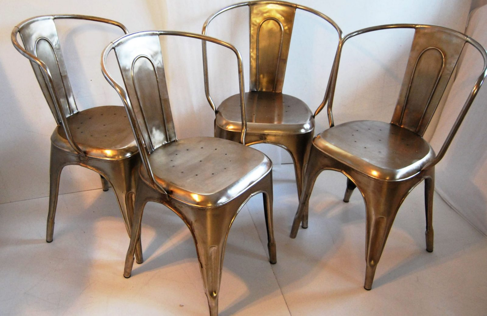 Bouchon French Industrial Steel Cafe Side Chair U2013 Set Of 4
