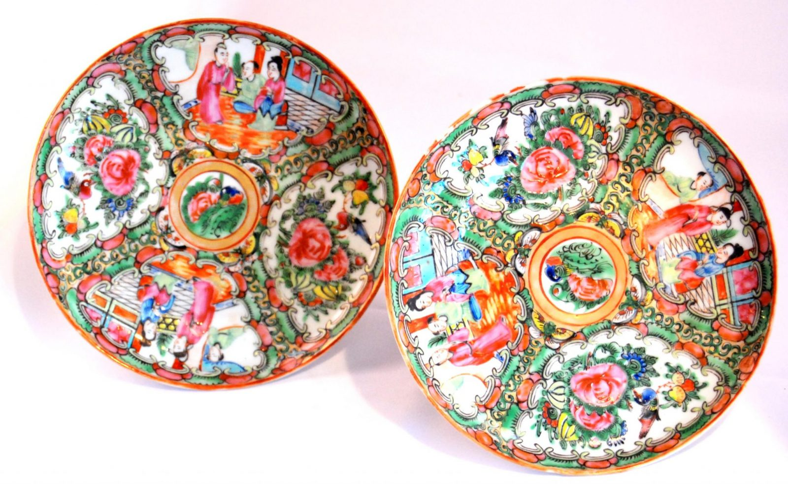 Pair Of Miniature Chinese Export Rose Medallion Porcelain