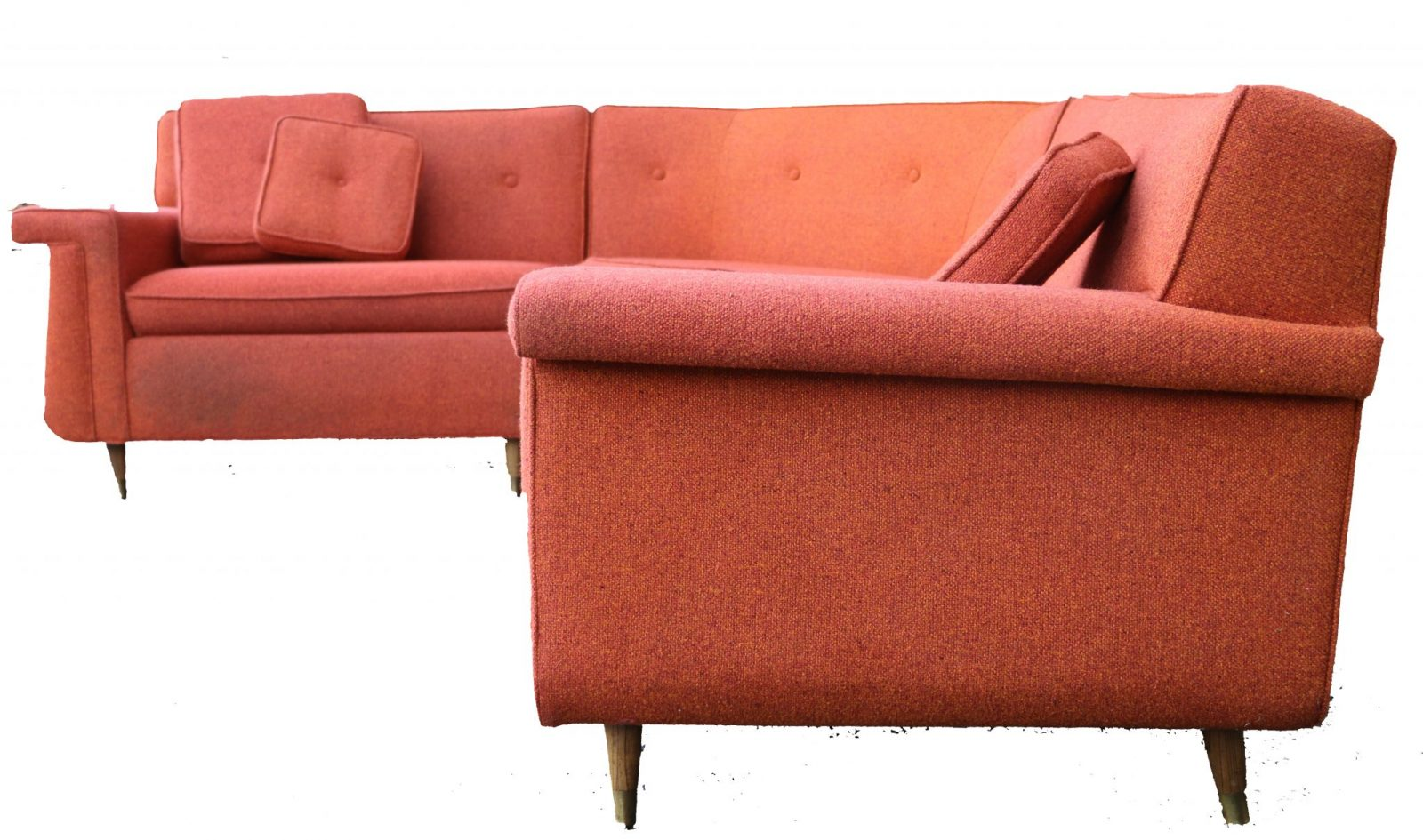 Mid Century Modern four piece upholstered sectional sofa